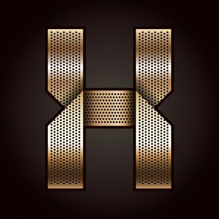 folded metallic tape: Letter metal gold ribbon - X