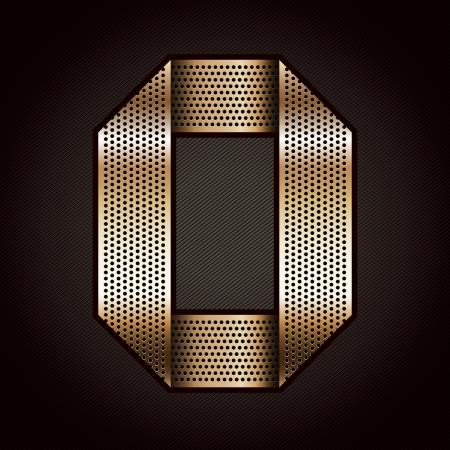 letras cromadas: N�mero cinta de metal de oro - 0 - cero Vectores