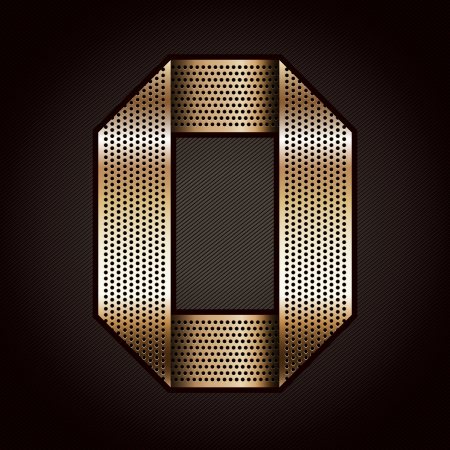 metal grate: Number metal gold ribbon - 0 - zero Illustration