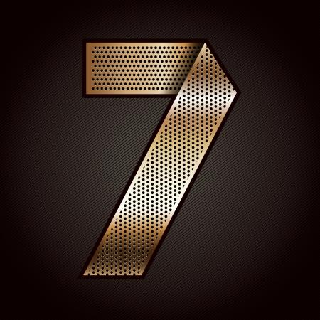 folded metallic tape: Number metal gold ribbon - 7 - seven