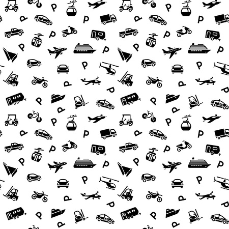 Seamless backdrop, transport icons Vector