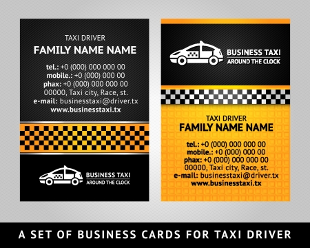 chequered ribbon: Business card - TAXI