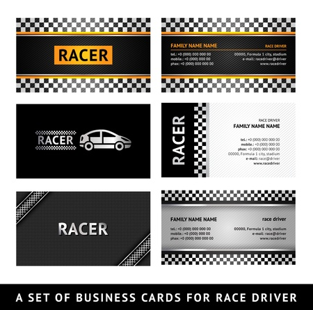 Business card driver race - first set Stock Vector - 15363595