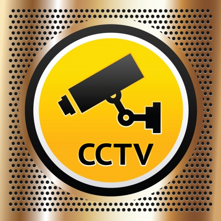 cctv security: CCTV symbol on a golden background Illustration