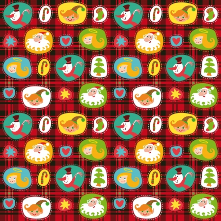 Christmas set, wrapping paper, plaid tartan pattern background Stock Vector - 15363585