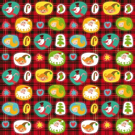 checkered pattern: Christmas set, wrapping paper, plaid tartan pattern background Illustration