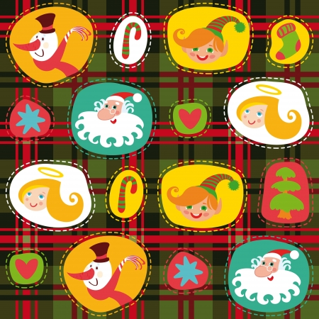 christmas angels: Christmas tartan, plaid pattern background