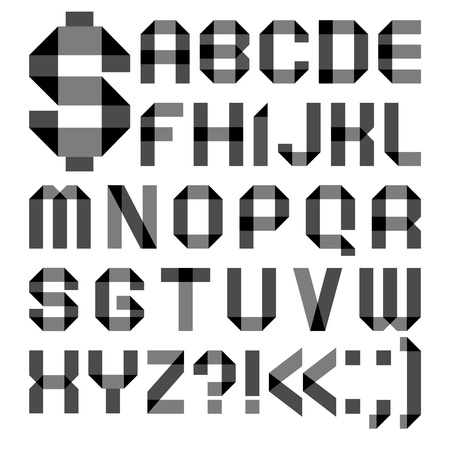 vellum: Font da un nastro di carta trasparente - lettere alfabeto Vettoriali