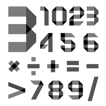 alphanumeric: Font from a paper transparent tape - Numerals