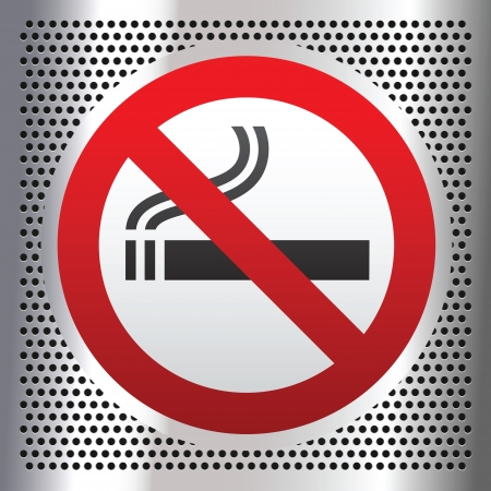 prohibido fumar: Ning�n s�mbolo de fumar sobre un fondo cromo Vectores