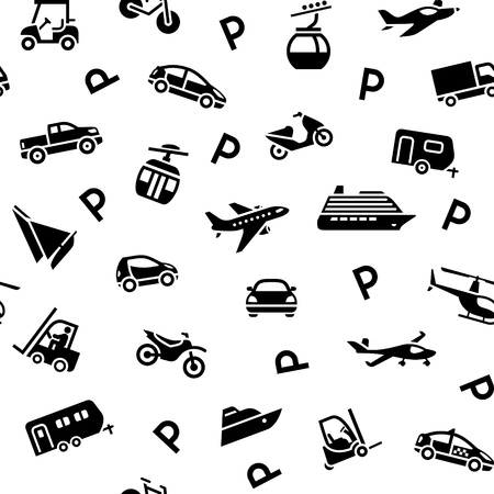 ropeway: Seamless backdrop transport icons, wrapping paper Illustration