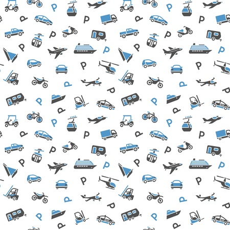 Seamless backdrop, transport icons, wallpaper Vector