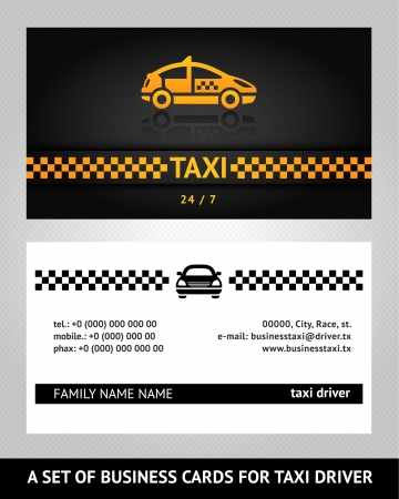 chequered ribbon: business cards taxi cab Illustration