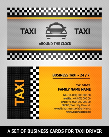 street name sign: Business cards taxi