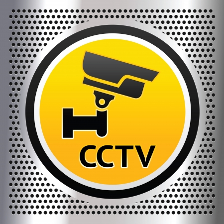 cctv security: CCTV symbol on a chromium background