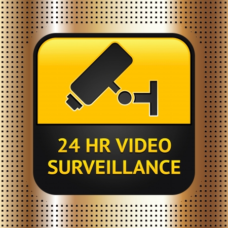 CCTV symbol on a golden metallic background Vector
