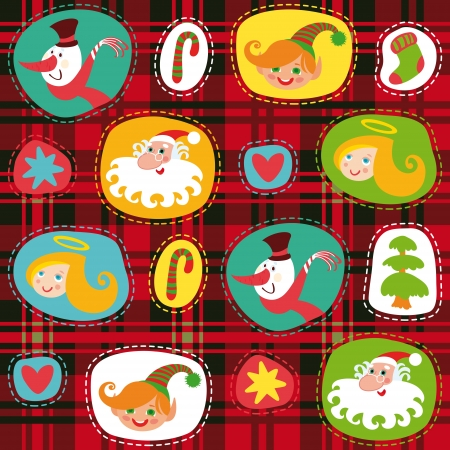 Christmas set,   plaid tartan pattern background, wrapping paper Stock Vector - 15550696