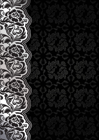 erotic: Flower background with lace, seamless dark template