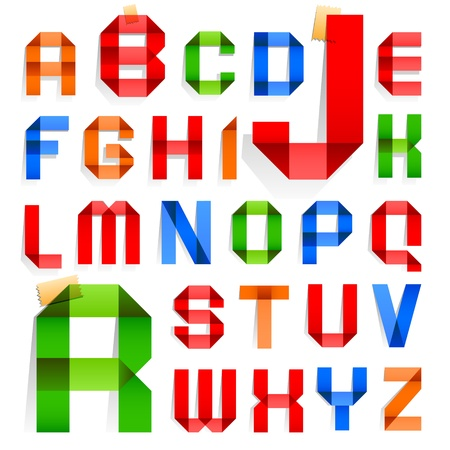roman alphabet: Font folded from colored paper -  Roman alphabet