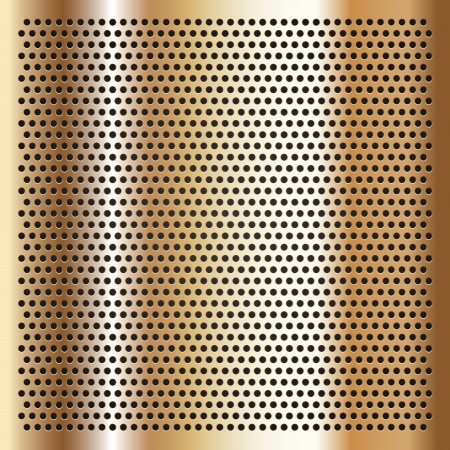 chromium sheet: Gold background perforated sheet Illustration