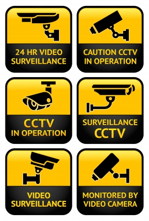 camera surveillance: Security camera sign set Illustration