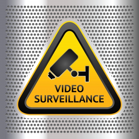 monitored area: CCTV symbol, on a chromium background Illustration