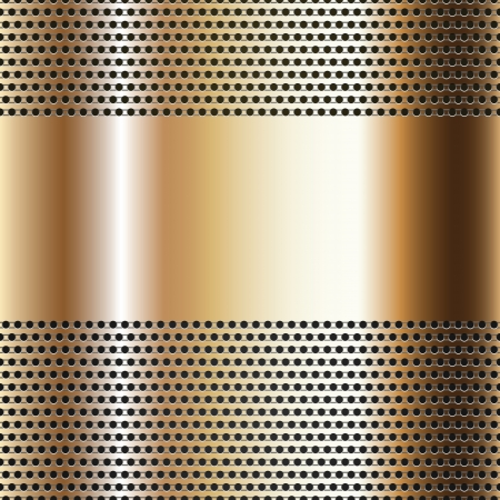 metal texture: Golden background perforated sheet Illustration