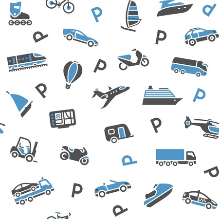 caravan: Seamless background transport icons - wrapping paper, 10eps