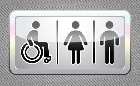 paralyze: Restroom symbol, gray button