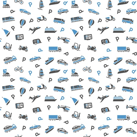 Seamless background, transport icons, wallpaper  Vector
