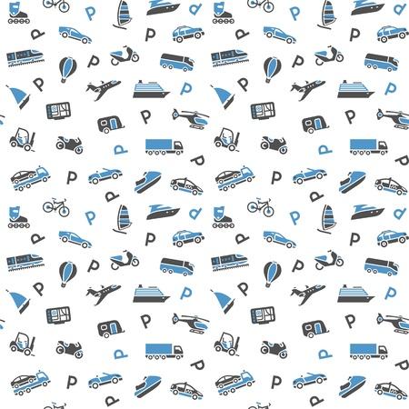 boat motor: Seamless background, transport icons, wallpaper  Illustration
