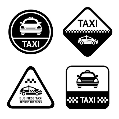 taxi cab: Taxi cab set black buttons Illustration