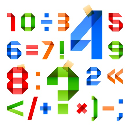 arabic numerals: Font folded from colored paper - Arabic numerals
