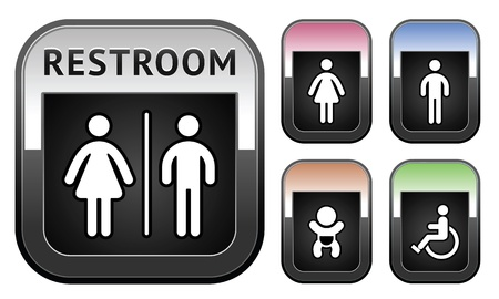 girl toilet: Restroom symbol, metallic button Illustration