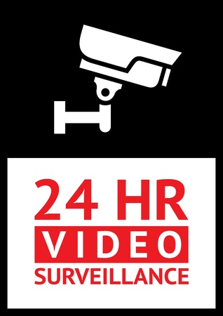 Warning Sticker for Security Alarm CCTV Camera Surveillance Vector