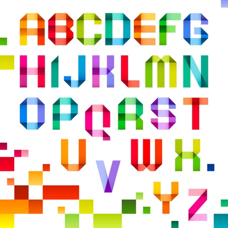 roman alphabet: Spectral letters folded of paper ribbon colour