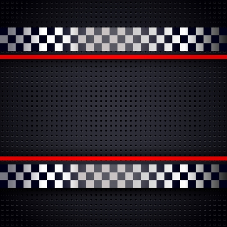 bandera carrera: Estructurado metálico perforado para el fondo raza hoja Vectores