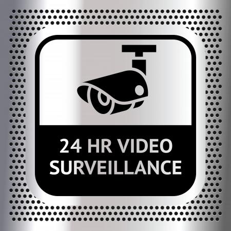 cam�ra surveillance: Symbole de vid�o surveillance sur un fond chrome m�tallique Illustration