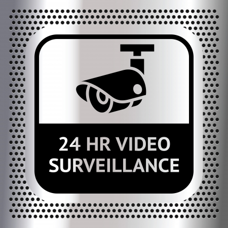 camera surveillance: Video surveillance symbol on a metallic chromium background