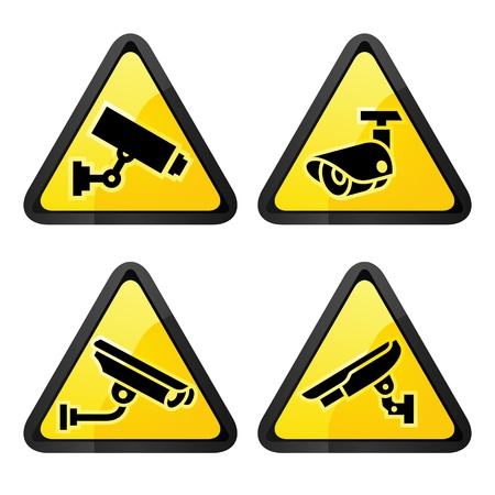 CCTV triangular labels, set symbol security camera Vector