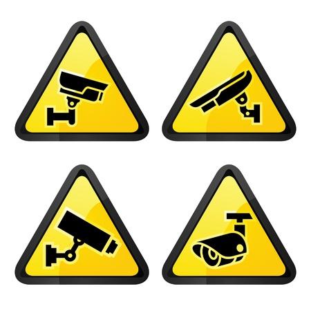 CCTV driehoekige etiketten, reeks symbool videobewaking Vector Illustratie