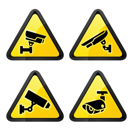 private security: CCTV triangular labels, set symbol video surveillance