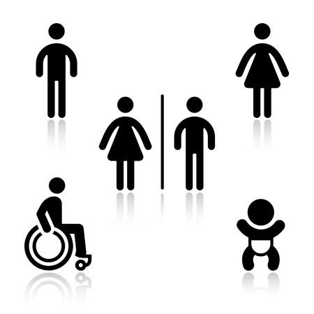 rollstuhl: WC schwarz set Piktogramme