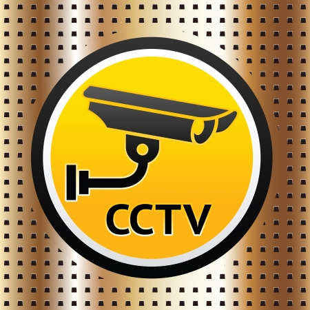 Video surveillance symbol on a golden background Vector