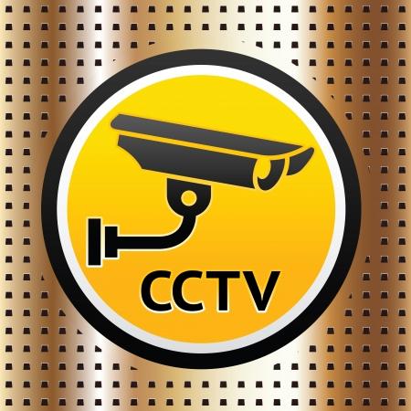 Video surveillance symbol on a golden background Stock Vector - 16111104