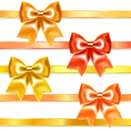Golden and bronze bows of silk ribbon Vector