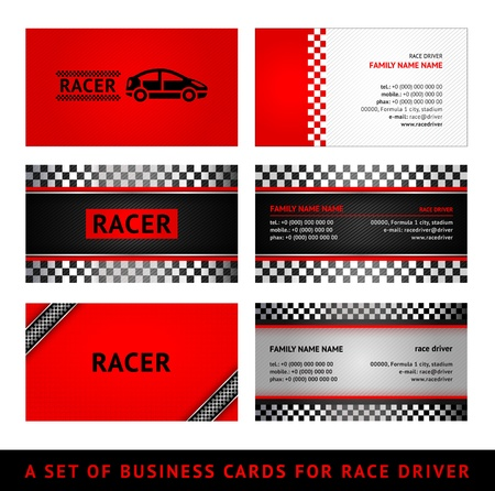 car pattern: Business cards red race - first set Illustration