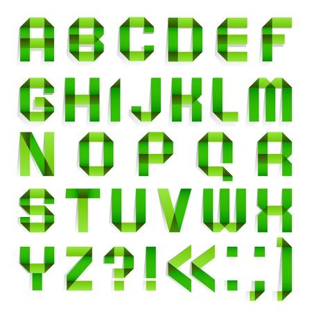 Alphabet folded paper - Green letters  Illustration