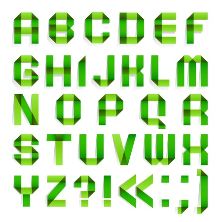 Alphabet folded paper - Green letters  Illustration
