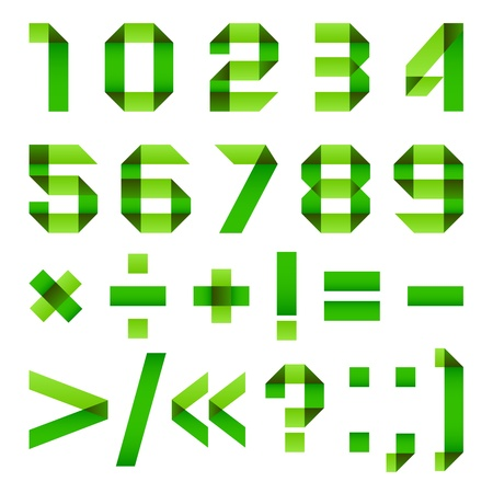 Font folded from green paper - Arabic numerals Vector